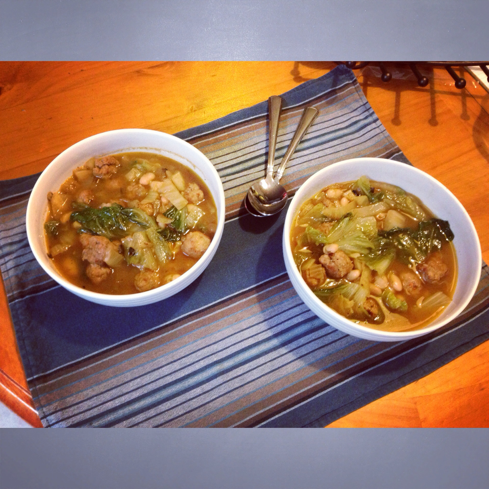 Escarole Soup with Fennel, Navy Beans, and Mini Meatballs